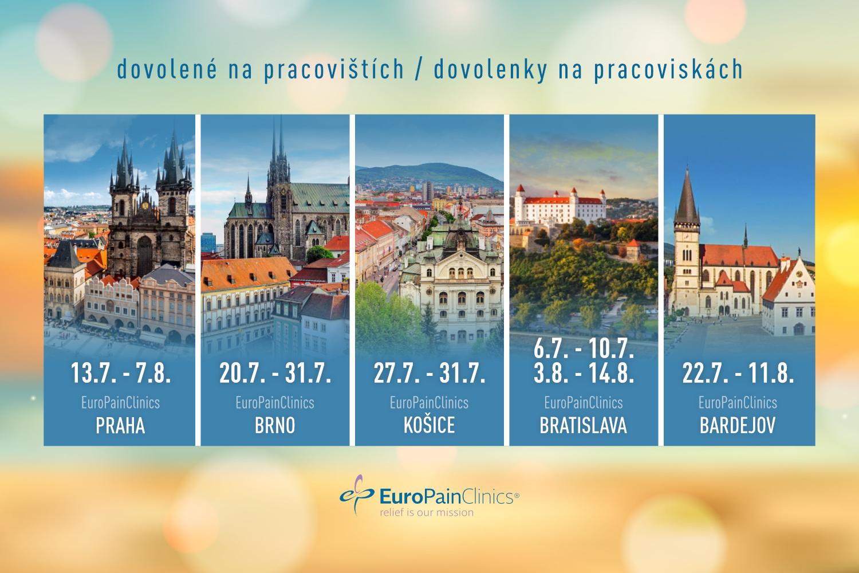 Letné dovolenky: obmedzenie prevádzky v EuroPainClinics
